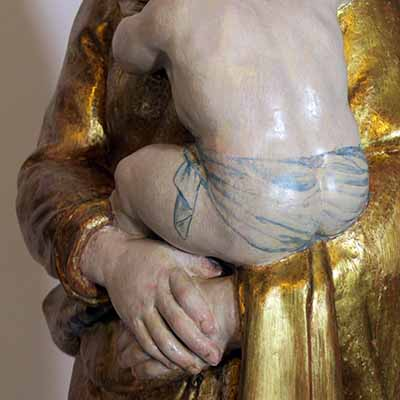 Restauration sculpture polychrome Rouen